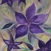 Purple Clematis Abstract Art Print