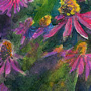 Purple Cone Flowers Outside Beye School Art Print
