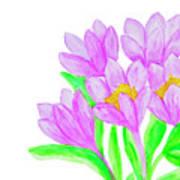 Purple Crocuses, Painting Art Print