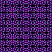 Purple Dots Pattern On Black Art Print
