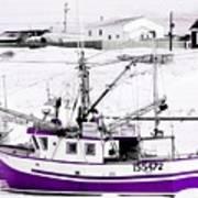 Purple Fishing Boat Art Print
