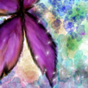 Purple Flower Watercolor Doodle Art Print