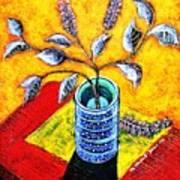 Purple Flowers On Orange Background Art Print