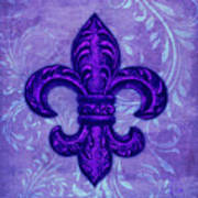 Purple French Fleur De Lys, Floral Swirls Art Print