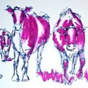 Purple Friesian Holstein Cows Drawing Art Print