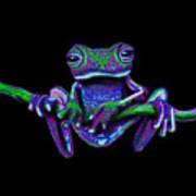 Purple Green Ghost Frog Art Print