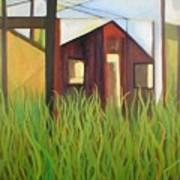 Purple House In A Green Field Art Print