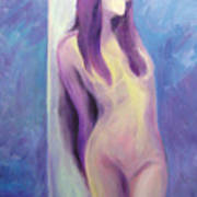 Purple Lady On Blue Art Print