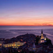Purple Light On The Adriatic Sea After Sundown With Lights On Pi Art Print