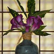Purple Lilies In Japanese Vase Art Print