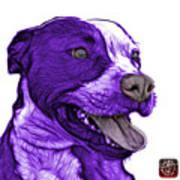 Purple Pit Bull Fractal Pop Art - 7773 - F - Wb Art Print