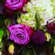 Purple Roses With Hydrangea Art Print