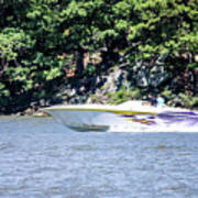 Purple Speed Boat Art Print