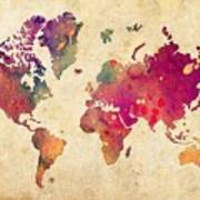 Purple World Map Watercolor Print  Art Print