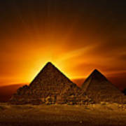 Pyramids Sunset Art Print