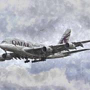 Qatar Airlines Airbus And Seagull Escort Art Art Print