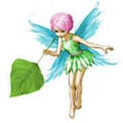 Quaking Aspen Tree Fairy Holding Leaf Art Print