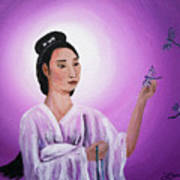 Quan Yin With Three Dragonflies Art Print