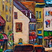 Quebec City Street Scene  Caleche Ride Art Print