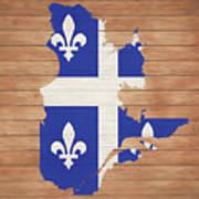 Quebec Rustic Map On Wood Art Print