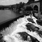 Quechee, Vermont - Falls 3 Bw Art Print