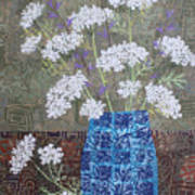 Queen Anne's Lace In Blue Vase Art Print