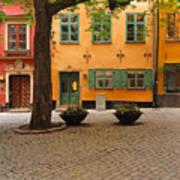Quiet Little Square In Old Gamla Stan In Stockholm Sweden Art Print