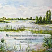 Quiet Waters Psalm 23 Art Print