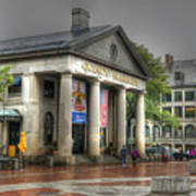 Quincy Market On A Wet Day Art Print