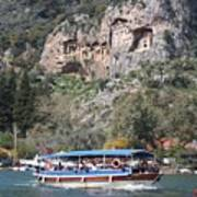 Quintessentially Dalyan River Boats And Rock Tombs Art Print