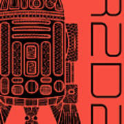 R2d2 - Star Wars Art - Red Art Print
