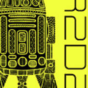 R2d2 - Star Wars Art - Yellow Art Print