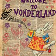 Rabbit Welcome To .. Alice In Wonderland Art Print