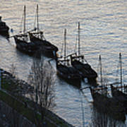 Rabelo Boats On Douro River In Portugal Art Print