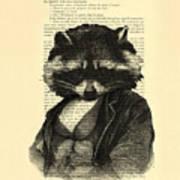 Raccoon Portrait, Animals In Clothes Art Print