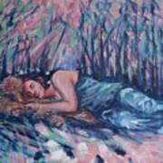 Rachel In The Sun-splattered Forest Art Print