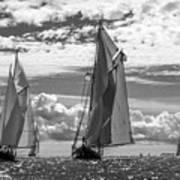 Racing On Open Waters B-w Art Print