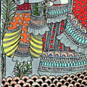Radha Krishna Fish Art Print