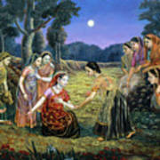 Radha Lamenting With The Gopis Art Print