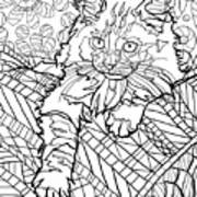 Ragdoll Kitten - Coloring Image Art Print