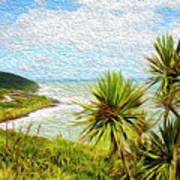 Raglan Coastline Art Print
