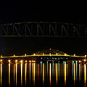 Railroad And Bourne Bridge At Night Cape Cod Art Print
