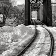 Railroad Bridge In Winter Art Print