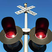 Railroad Crossing Lights Art Print