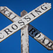 Railroad Crossing Wooden Sign Art Print