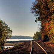 Railroad Track By The Mississippi  Art Print