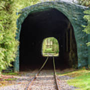 The Railway Passing Through The Tunnel To Meet The Light Art Print