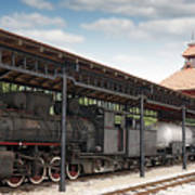 Railway Station With Old Steam Locomotive Art Print