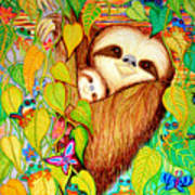 Rain Forest Survival Mother And Baby Three Toed Sloth Art Print