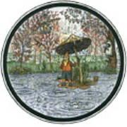 Rain Gnome Rain Circle Art Print